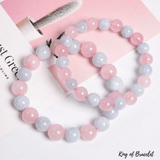 Bracelet en Quartz Rose et Aigue Marine Naturelle - King of Bracelet