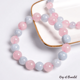 Bracelet Perles Quartz Rose et Aigue Marine - King of Bracelet