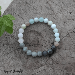 Bracelet Mala en Labradorite, Aigue Marine et Quartz Rose - King of Bracelet