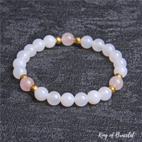 Bracelet en Agate Blanche et Quartz Rose - King of Bracelet