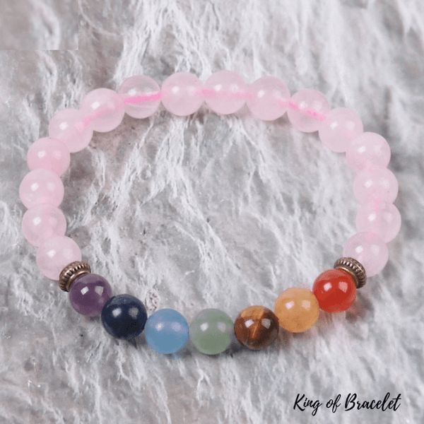 Bracelet 7 Chakras en Quartz Rose - King of Bracelet