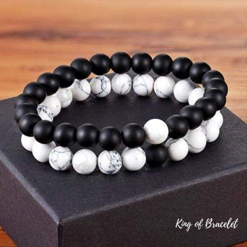 "Bracelet Distance pour Couple ""Yin & Yang"" en Pierres Naturelles - King of Bracelet"