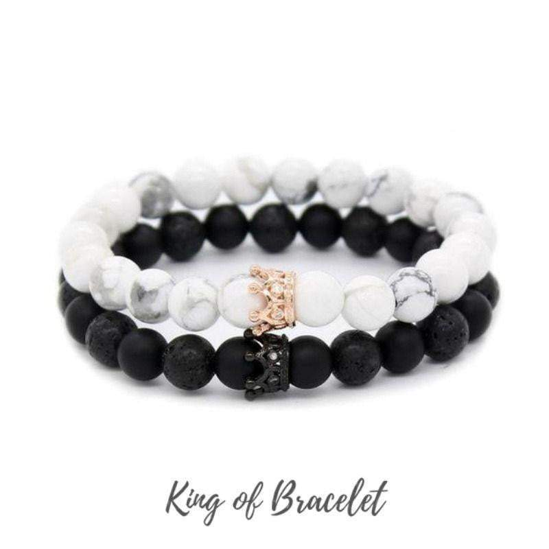 "Bracelet Distance pour Couple ""Queen & King"" en Pierres Naturelles - King of Bracelet"