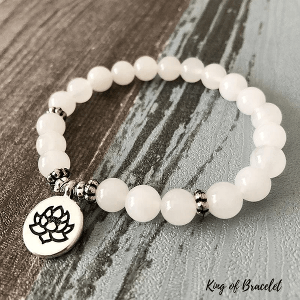 Bracelet Lotus en Jade Blanc - King of Bracelet