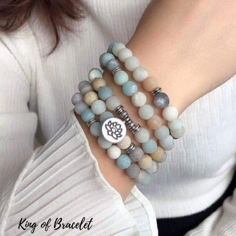 Bracelet Mala Lotus 108 Perles en Amazonite - King of Bracelet