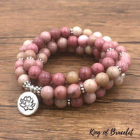 Bracelet Mala Lotus 108 Perles en Rhodonite - King of Bracelet