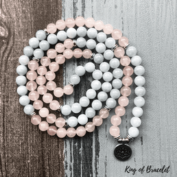 Bracelet Mala en Quartz Rose et Aigue Marine - King of Bracelet