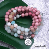 Bracelet Mala Tibétain en Amazonite et Rhodonite - King of Bracelet