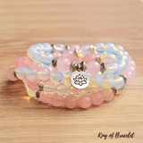 Bracelet Mala Tibétain en Opalite et Quartz Rose - King of Bracelet