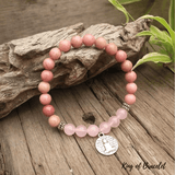 Bracelet Mala Tibétain en Rhodonite et Quartz Rose - King of Bracelet