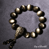 Bracelet Mala Tibétain en Obsidienne Dorée - King of Bracelet