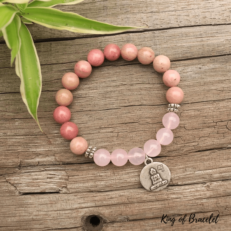 Bracelet Mala Bouddhiste en Rhodonite et Quartz Rose - King of Bracelet