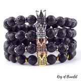 Bracelet Couronne en Pierre de Lave - King of Bracelet