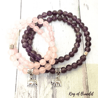 Lot de 2 Bracelets Éléphant en Quartz Rose et Améthyste - King of Bracelet