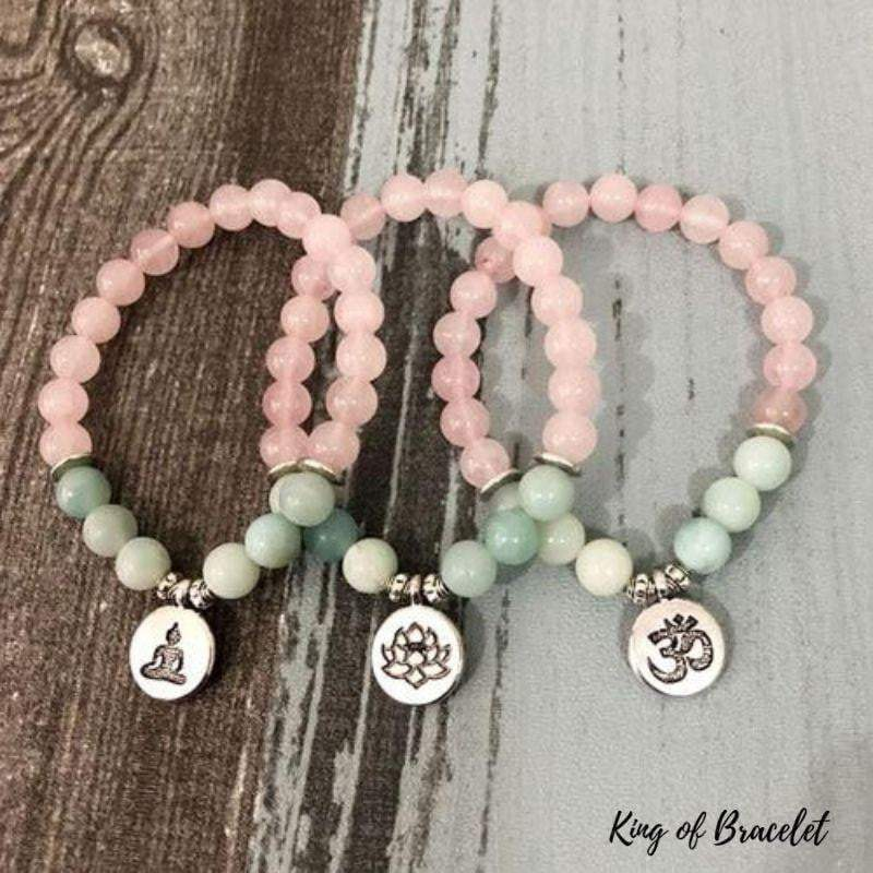 Bracelet en Amazonite et Quartz Rose