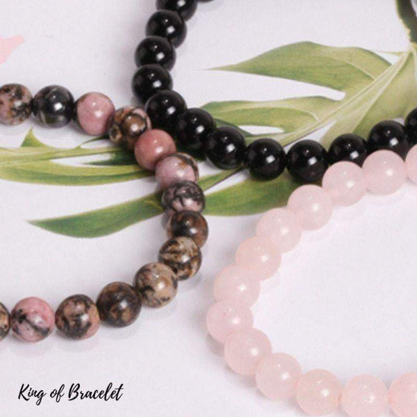 Bracelets en Rhodonite, Onyx Noir et Quartz Rose - King of Bracelet