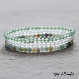 Bracelets en Quartz Neige, Amazonite et Aventurine Verte - King of Bracelet