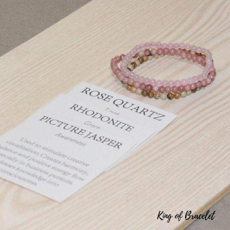 Bracelets en Quartz Rose, Rhodonite et Jaspe Paysage - King of Bracelet