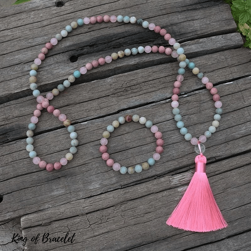 Bracelet Mala en Amazonite, Rhodonite et Quartz Rose - King of Bracelet