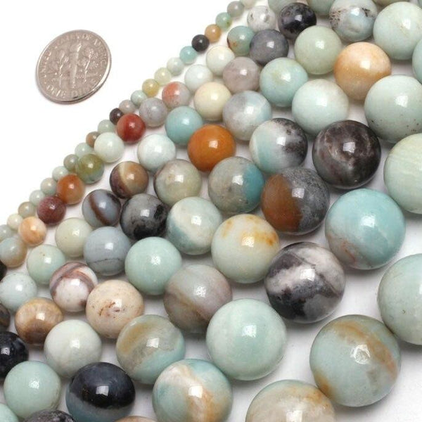 Perles Rondes Amazonite Multicolore