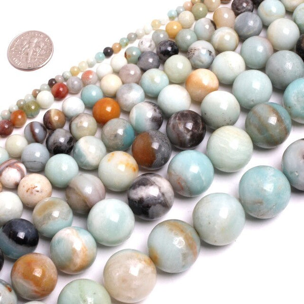 Perles Rondes Amazonite Multicolore - King of Bracelet