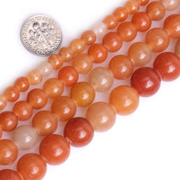 Perles Rondes Aventurine Orange - King of Bracelet