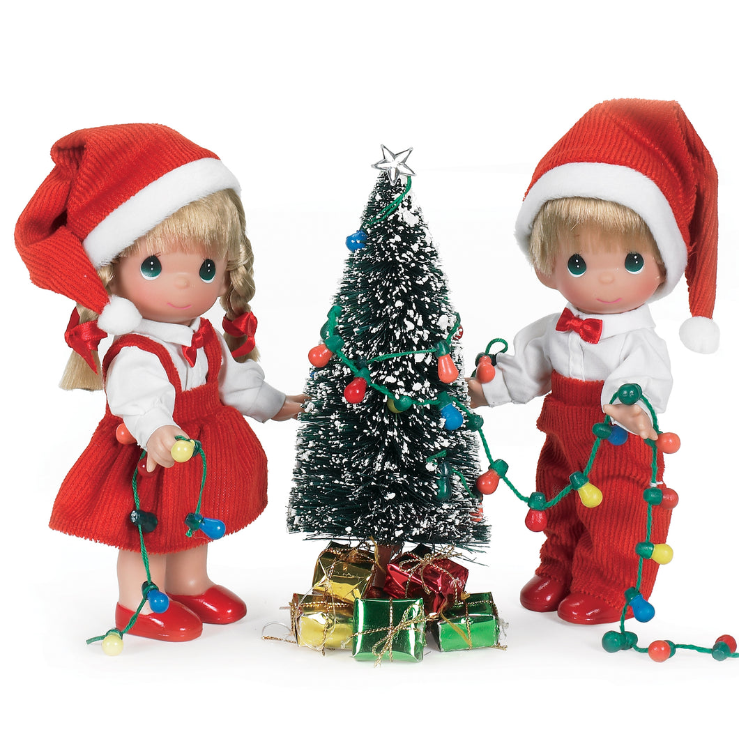 You Light Up My Life Christmas set, 7 inch set of dolls