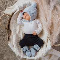 Blue Merino Wool Bonnet & Booties