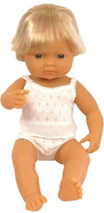 Miniland Doll - Anatomically Correct Baby, Caucasian Boy, 38 cm