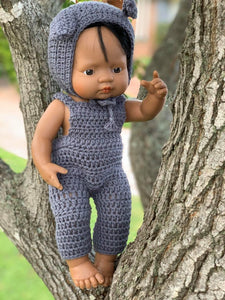 Miniland Doll Knitted Overalls + Bunny Bonnet Set