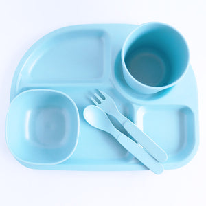 Bamboo Divided Plate Set - Blue