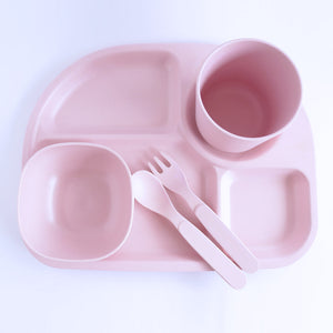 Bamboo Divided Plate Set - Pink