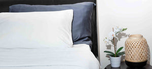 Bamboa Bedding Bamboo Pillow Case Light grey and white