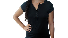 Bamboa Clothes Bamboo Ladies Round Neck T-Shirt Black