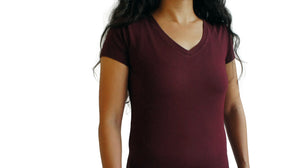 Bamboa Fashion Bamboo Ladies V Neck T-Shirt Bordeaux