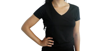 Bamboa Fashion Bamboo Ladies V Neck T-Shirt Black