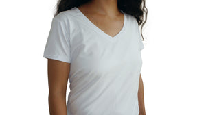 Bamboa Fashion Bamboo Ladies V Neck T-Shirt White
