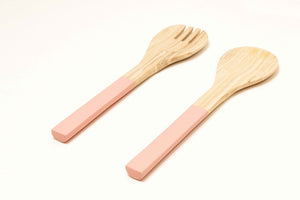 Bamboa Servo Bamboo Salad Utensils Flamingo