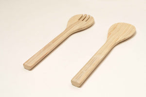 Bamboa Servo Bamboo Salad Utensils Natural