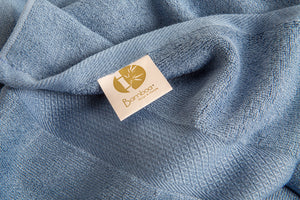 Bamboa towels made of 100% bamboo for an eco-firendly and organic home. Available in blue.