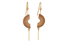 Load image into Gallery viewer, Bamboo Handcrafted Earings - Gold Half Moon