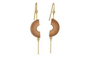 Bamboo Handcrafted Earings - Gold Half Moon