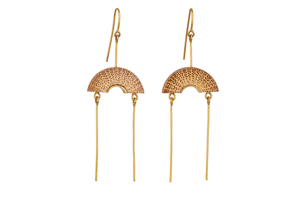 Bamboo Handcrafted Earrings - Gold Fan