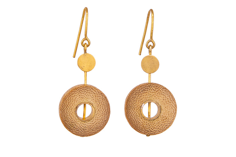 Bamboo Handcrafted Earings - Gold Sun