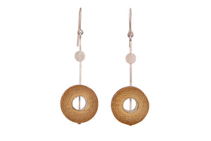 Bamboo Handcrafted Earrings - Silver Sun