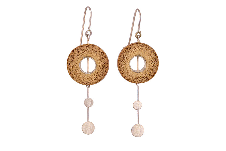 Bamboo Handcrafted Earings - Silver Droplets