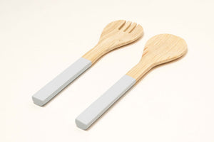 Bamboa Servo Bamboo Salad Utensils White