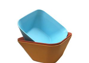 Bamboa Bamboo Kitchen Fibra Bamboo Fiber Square Bowl Blue