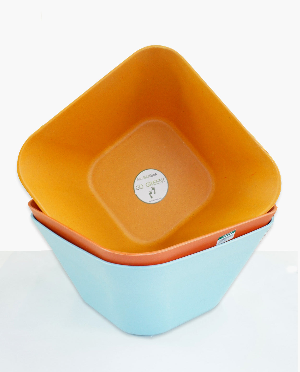 Bamboo Kitchen Fibra Bamboo Fiber Square Bowl Orange