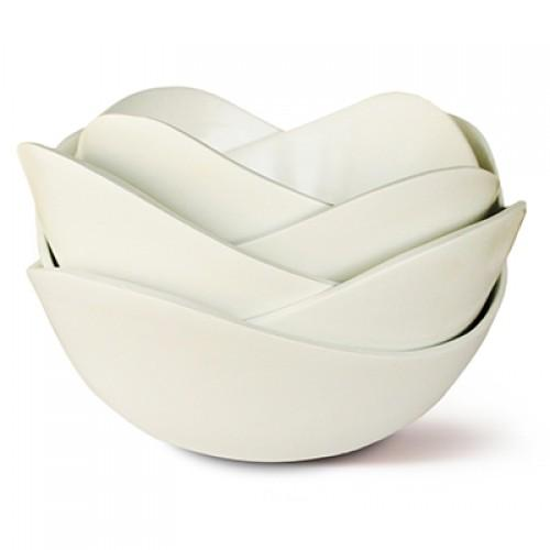 Bamboa Kitchen Bamboo Lotus Set of Five Bowls White